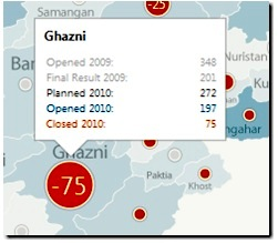 Afghanistan map: poll booths that didn't open