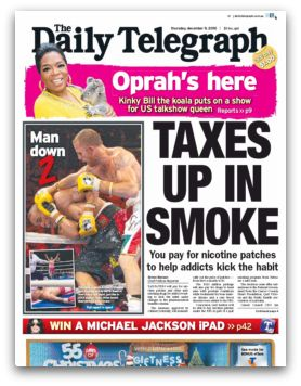 Daily Telegraph headline: Taxes Up in Smoke