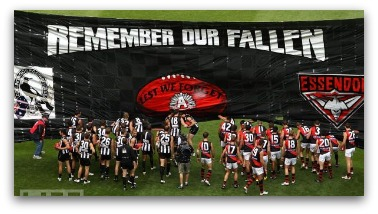 AFL Anzac Day Match banner run, Collingwood and Essendon