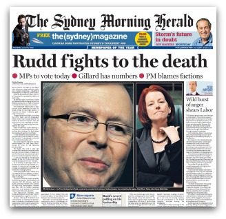 Rudd and Gillard leadership spill