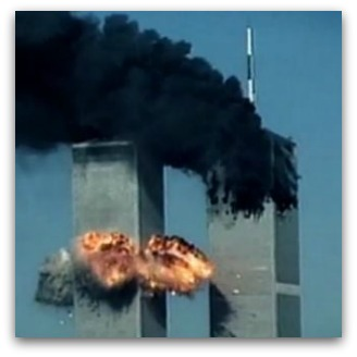 World Trade Center Twin Towers explode