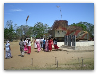 Tourists visiting a 'war memorial' at Elephant Pass, on the road to Jaffna