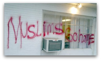Racist graffiti, Muslims Go Home