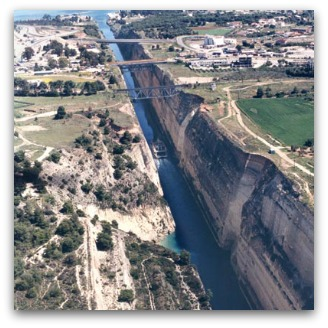 The Corinth Canal separates the Peloponnese from mainland Greece.
