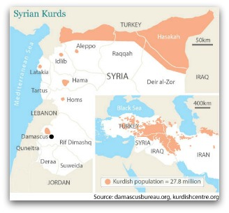 Map showing spread of Kurdish populations