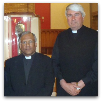 Cathedral Administrator, Fr Francis Xavier Kolencherry and Fr Frank Brennan SJ with the relic