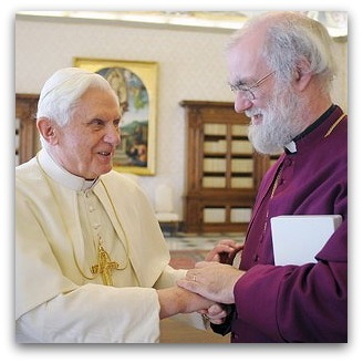 Pope Benedict XVI shakes hands with Archbishop of Canterbury Rowan Williams