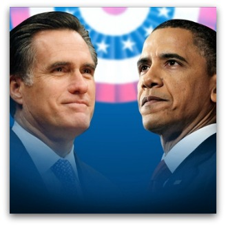Mitt Romney and Barack Obama in a patriotic haze