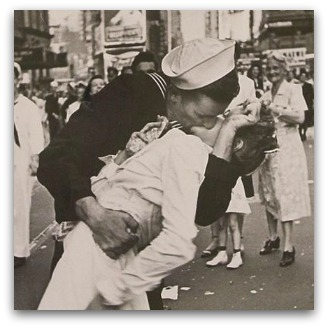 'The most famous kiss in history' - sailor kisses girl during parade after war