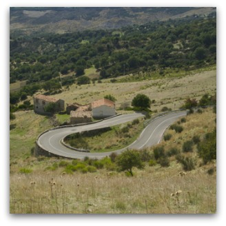 Winding road in country Calabria