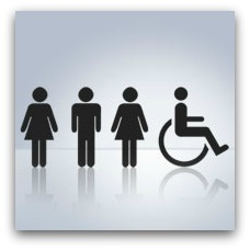 Woman, man, woman and wheelchair icons