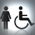 Woman and wheelchair icons