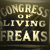 Congress of Living Freaks, carnival sideshow banner from old photo