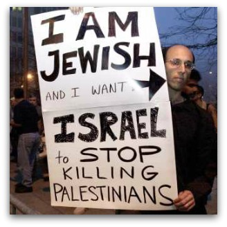 Proestor's sign: 'I am Jewish and I want Israel to stop killing Palestinians'