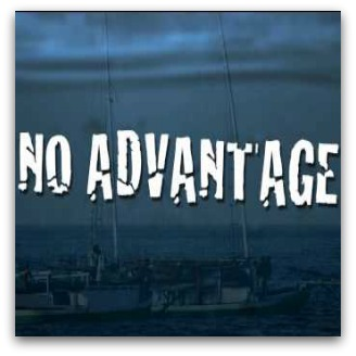 No Advantage white text against blue background image of boats