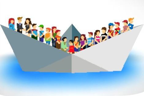 Pixellated people in a paper boat