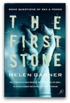 Book cover from 'The First Stone' by Helen Garner - hand holds a stone, words superimposed