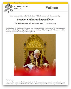 Pope Benedict resignation announcement