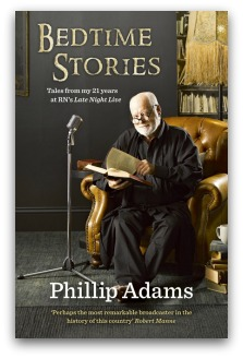 Philip Adams sits in an armchair beside a microphone with an open book, as if he is about to read from it. Cover of his book Bedtime Stories