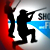 Shooters and fishers logo, shooter and fisher in silhouette