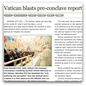 Newspaper report, 'Vatican blasts pre-conclave report'
