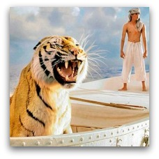 Scene from Life of Pi, tiger and boy on a boat