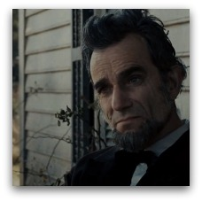 Daniel Day-Lewis as Abraham Lincoln in Lincoln. Sits on a porch looking pensive