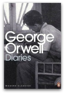 'George Orwell's diaries' book cover, Orwell leans over a desk writing