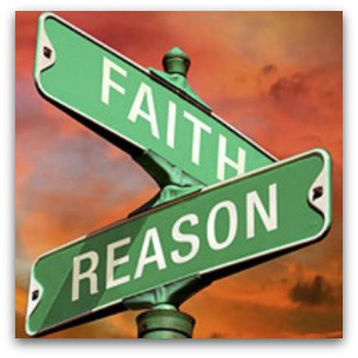 Street signs 'Faith and Reason' cross over each other
