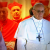 Pope Francis accompanied by assorted cardinals