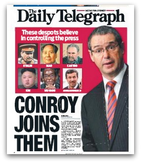 Daily Telegraph cover featuring Stephen Conroy alongside assorted dictators decried for 'controlling the press'