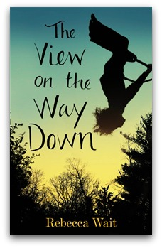 Book cover 'The View on the Way Down'. Child hangs head back, swings high on a swing