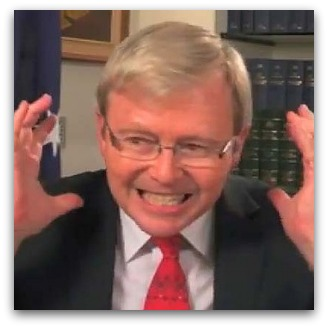 Kevin Rudd looking angry