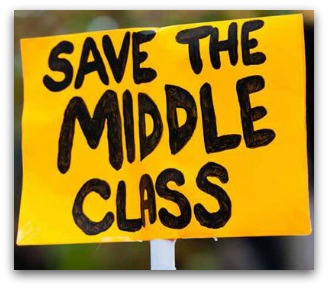 Yellow placard, 'Save the middle class'