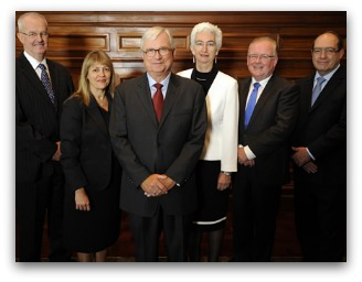 The Commissioners: (left to right) Mr Bob Atkinson AO APM, Professor Helen Milroy, Justice Peter McClellan AM (Chair), Justice Jennifer Coate, Mr Robert Fitzgerald AM and Mr Andrew Murray.