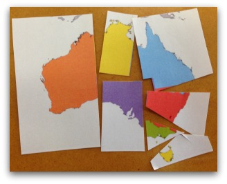 Map of Australia in pieces