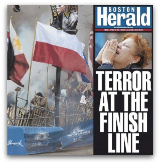 'Terror at the finish line', Boston Herald front cover shows grief-stricken woman and debris from bomb blast