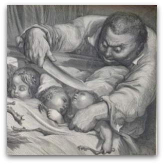 Dore's 'A Modest Proposal'. A sinister looking man prepares to put sleeping children in a sack