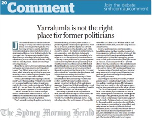 Sydney Morning Herald editorial with the title 'Yarralumla is not the right place for politicians'
