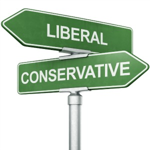 Crossed street signs, one says Liberal the other says Conservative