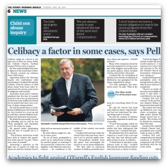 Sydney Morning Herald article with title 'Celibacy a factor in some cases, says Pell'