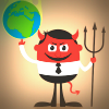 Red devil in a business suit holds up a flaming globe