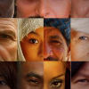 Portions of faces of people from different racial backgrounds set out in a grid