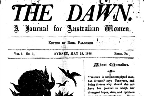 Masthead from first edition of 'The Dawn: A Journal for Australian Women'