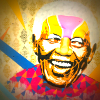 Colourful mural of Nelson Mandela smiling