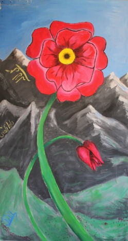 Painting of red flower with mountains in background
