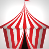 Red and white striped tent