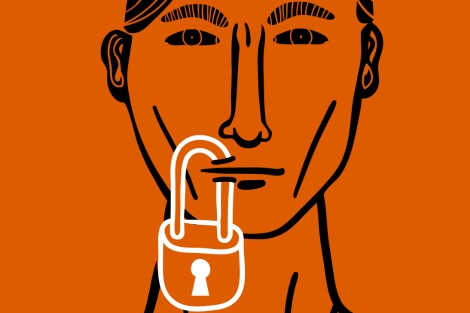 Man with padlock in lips
