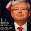 Sydney Morning Herald cover: photo of Kevin Rudd pouting slightly, headline reads 'PM takes the knife to spills'