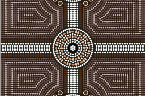 Aboriginal style dot painting in the shape of a cross